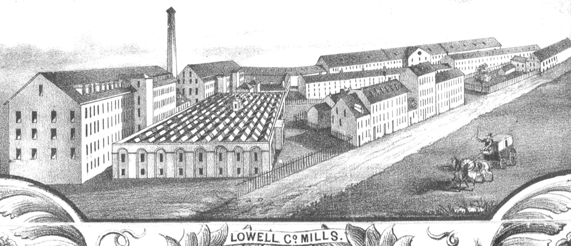 An 1850 detail of a map by Sidney and Neff featuring the Lowell Company Mills.
