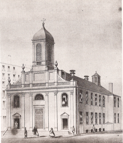 The original Holy Cross church on Franklin Street in Boston.