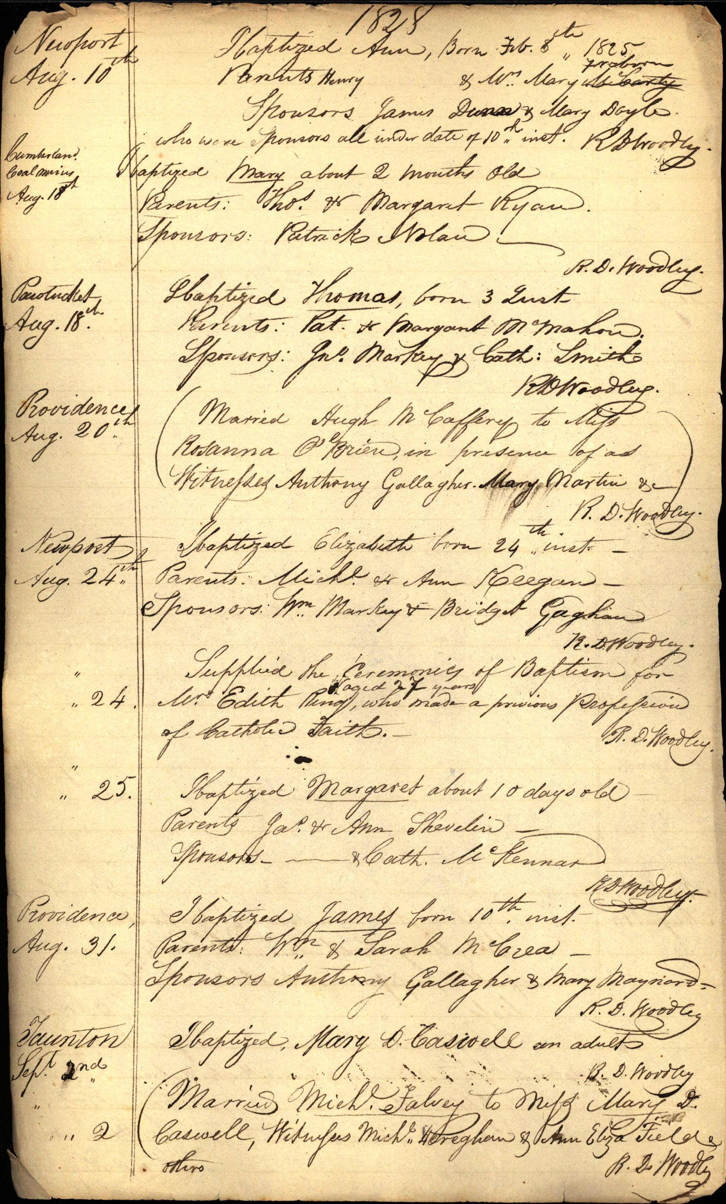 Various Records, Providence, RI 1828-1830 (Mission)
