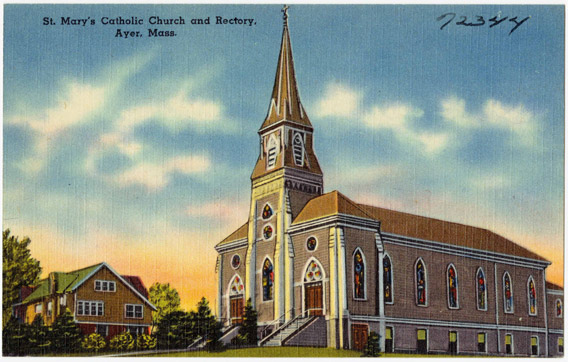 Postcard of St. Mary's in Ayer