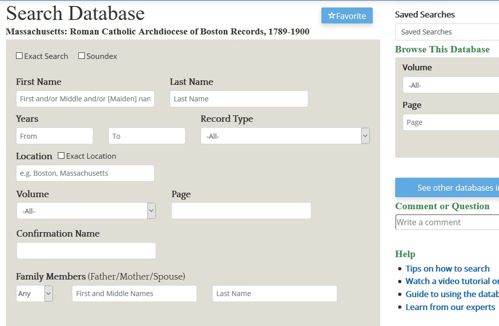 Search page for Catholic Records database
