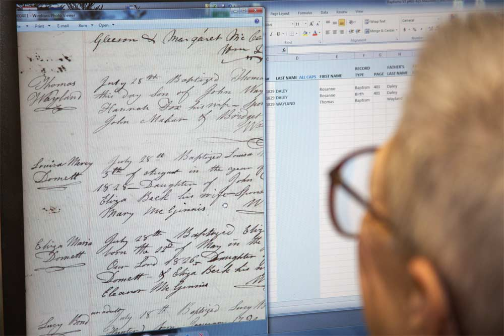 Volunteer transcribing scanned records