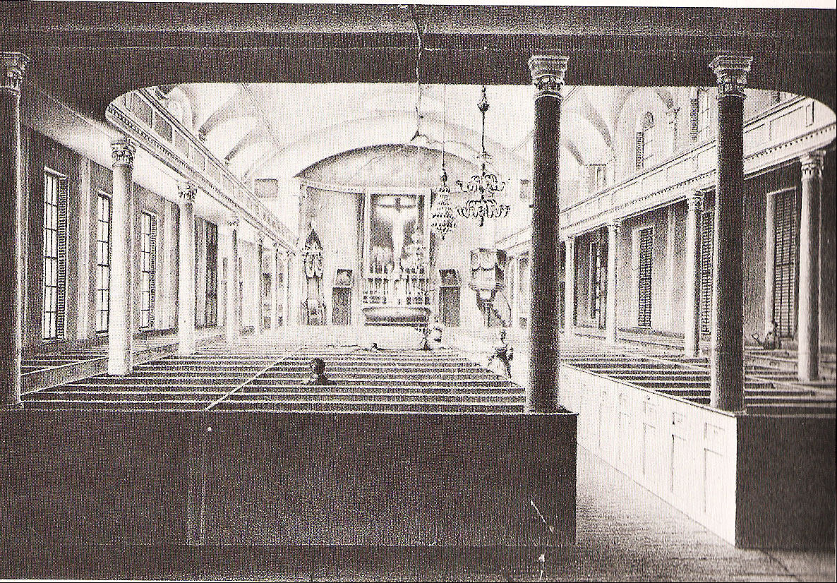 A rare interior view of the original Cathedral of the Holy Cross, before it was demolished in the 1860s for a larger South End replacement.