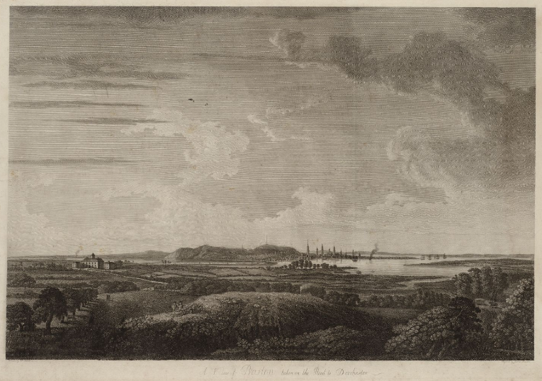A 1781 View of Boston from the Road to Dorchester by artist Des Barres.