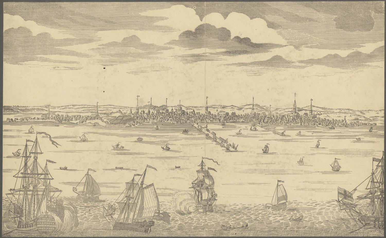 A view of Boston Harbor in 1790.