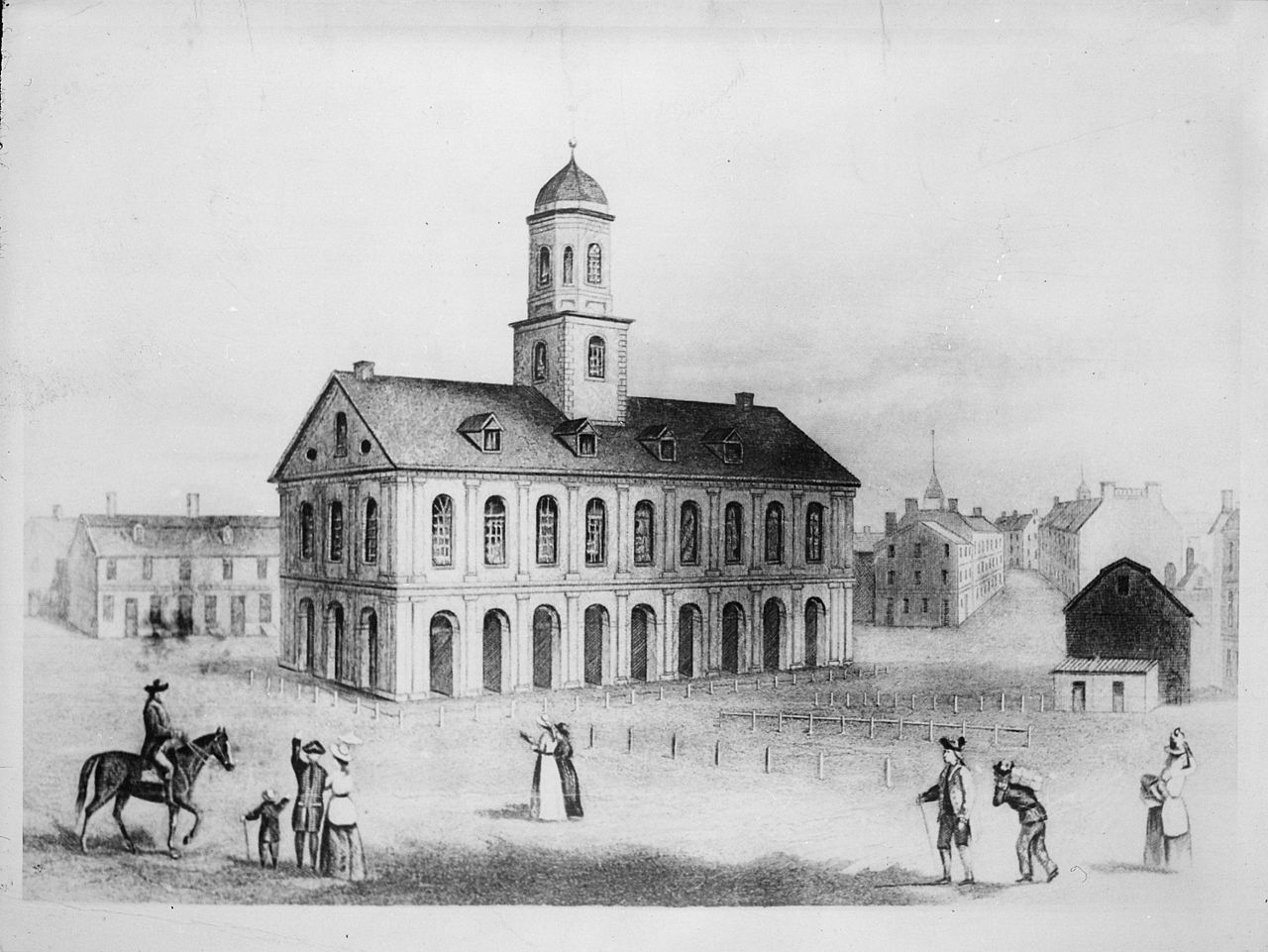 Illustration of Faneuil Hall as it appeared in the 1790s.