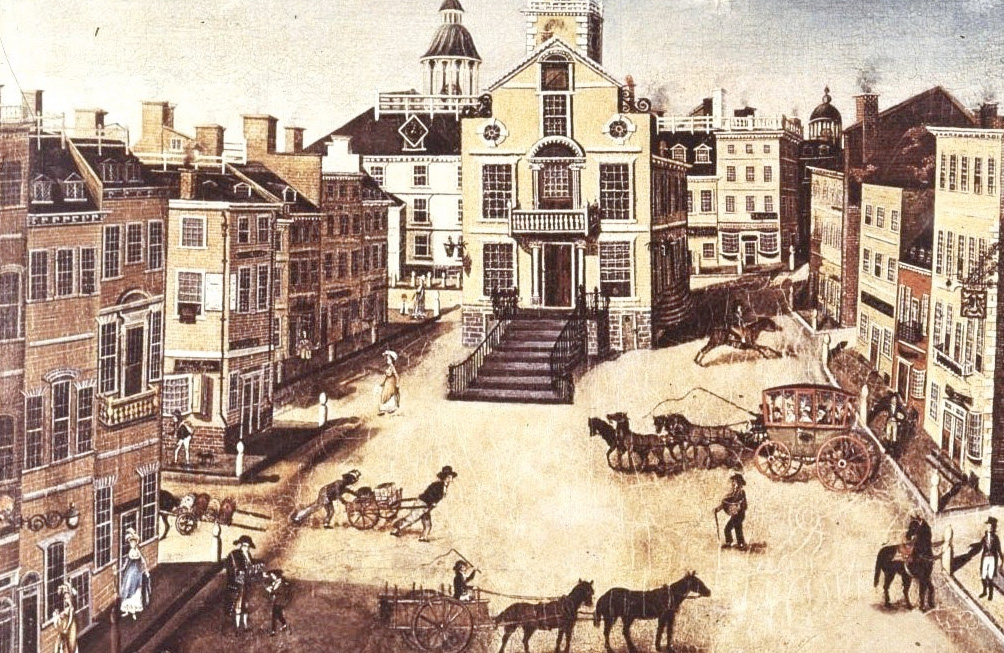 An 1801 painting of State Street by James Brown Marston.