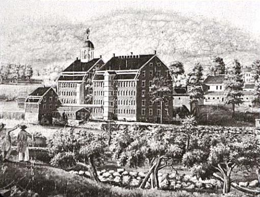Francis Cabot Lowell's Boston Manufacturing Company in the 1810s, along the Charles River in Waltham, Massachusetts.
