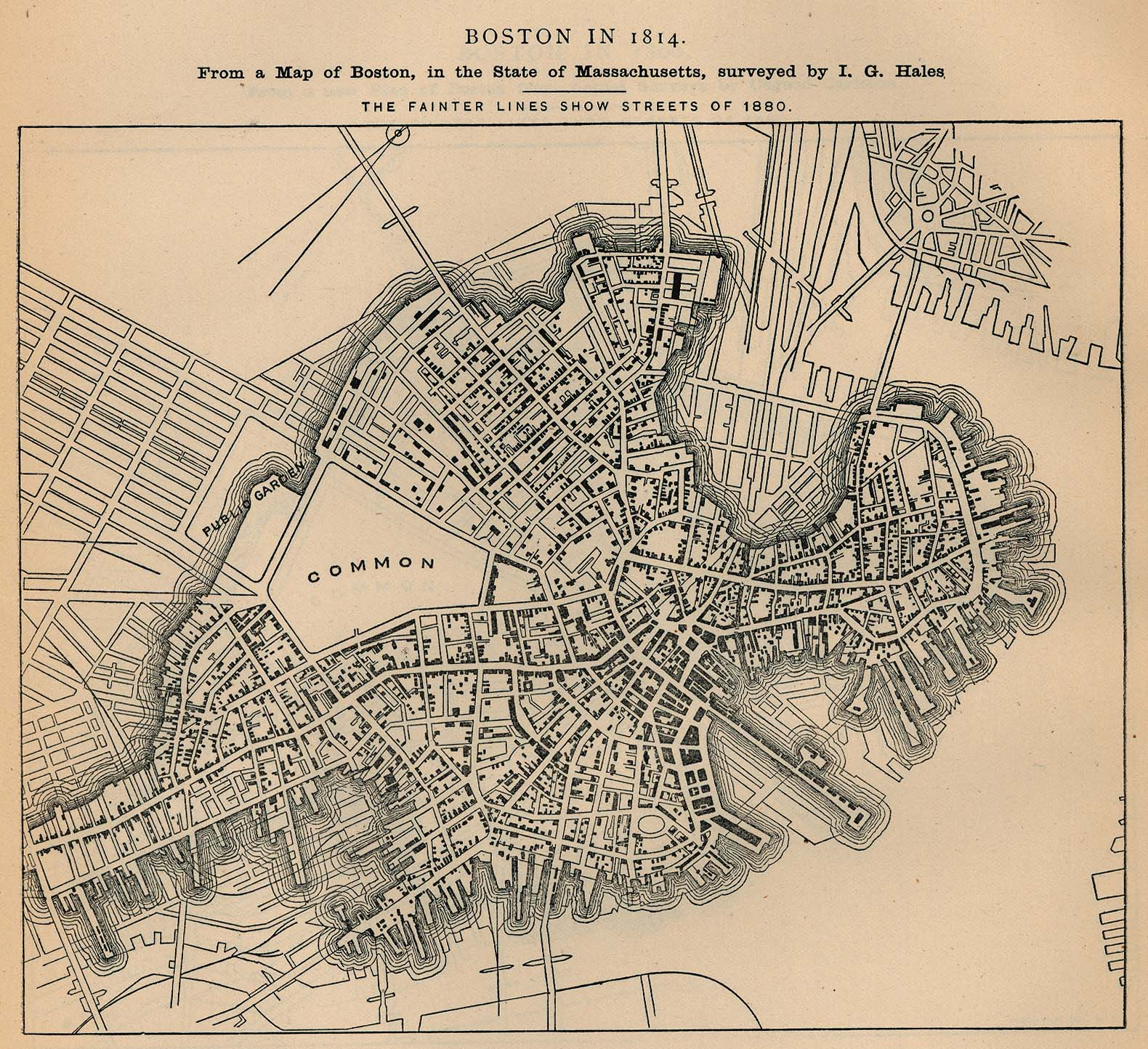 A map of Boston in 1814, with fainter lines for later developments.