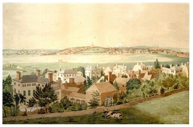 An 1828 painting of Boston by John Rubens Smith.