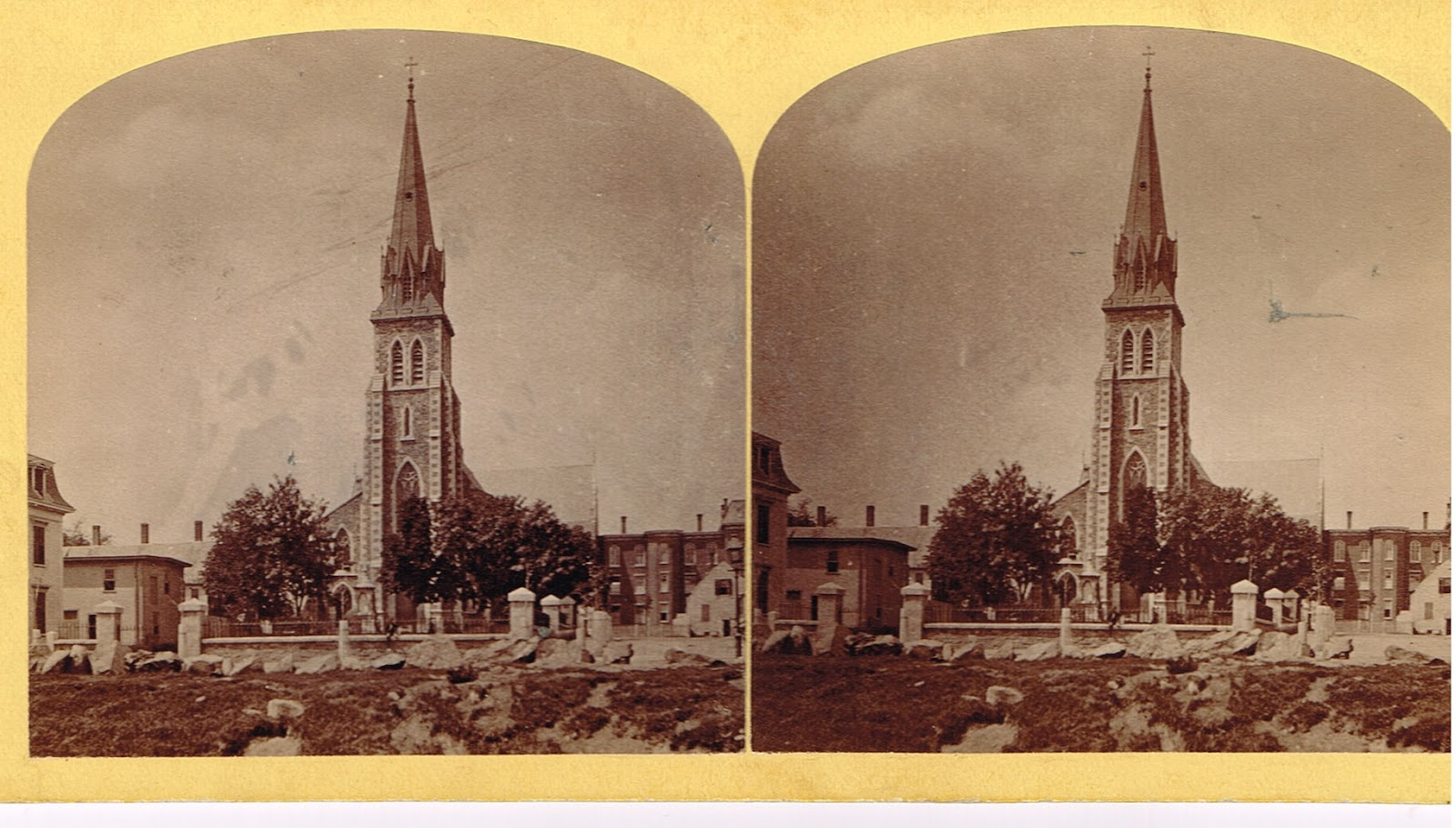 A stereoscopic view of Saint Patrick's in Lowell, Massachusetts, founded in 1831 and the first Catholic parish in the region. Image taken circa 1876-1881.