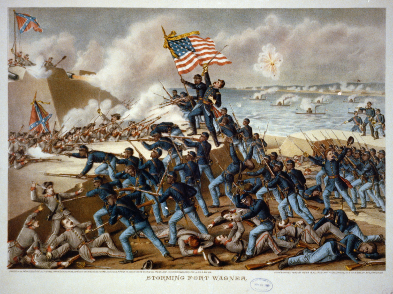 The famous 54th Massachusetts Infantry, an all African-American Union regiment during the Civil War.
